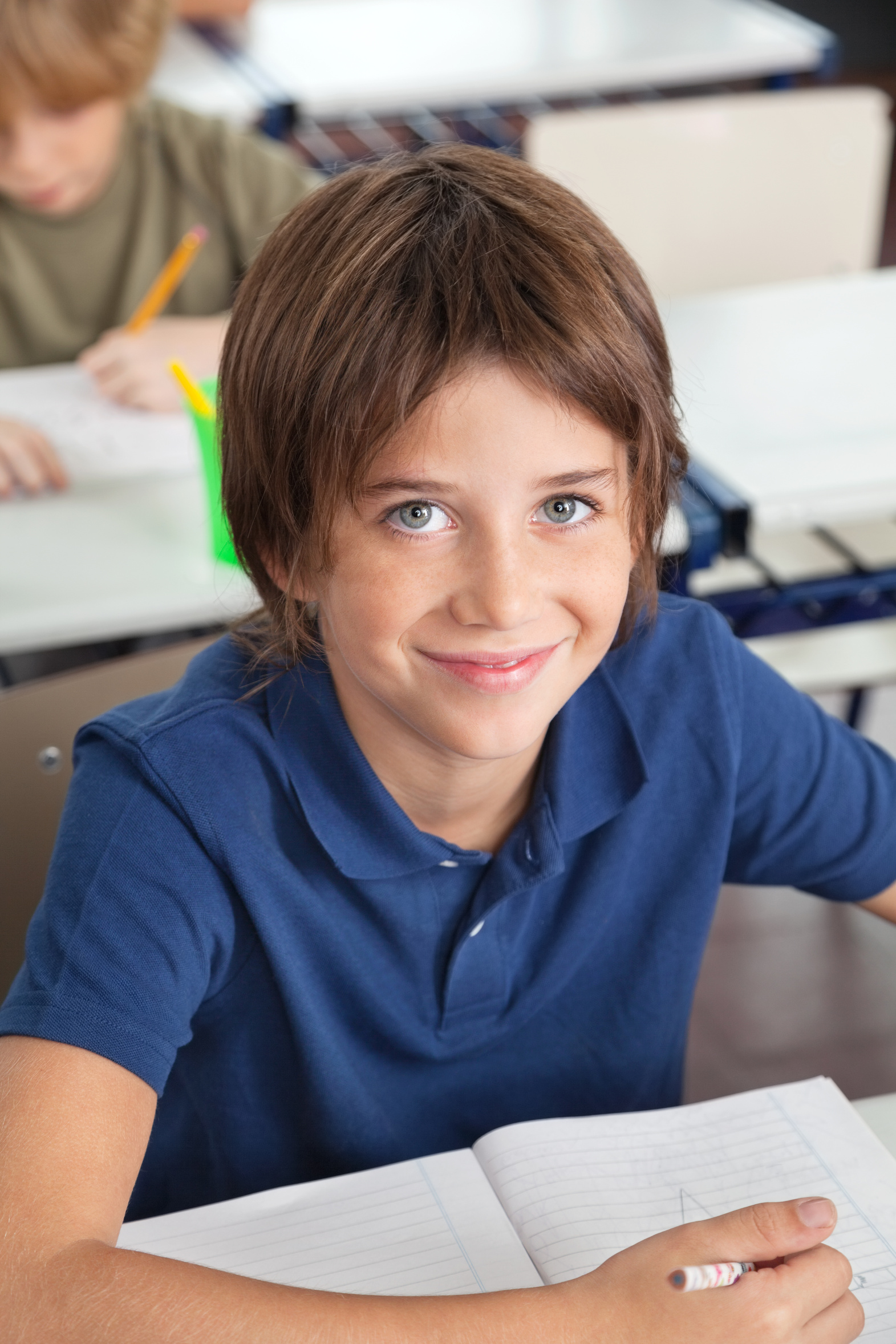 Cute Schoolboy Smiling In Classroom